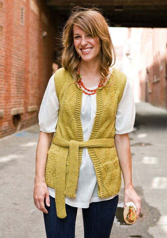 Whip up a colorful vest, designed with pockets, a self-belt and a simple but entertaining stitch pattern.