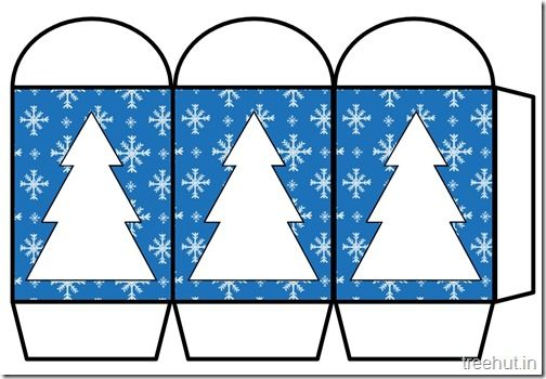 Colored Printable Christmas Tree Paper Lantern Template