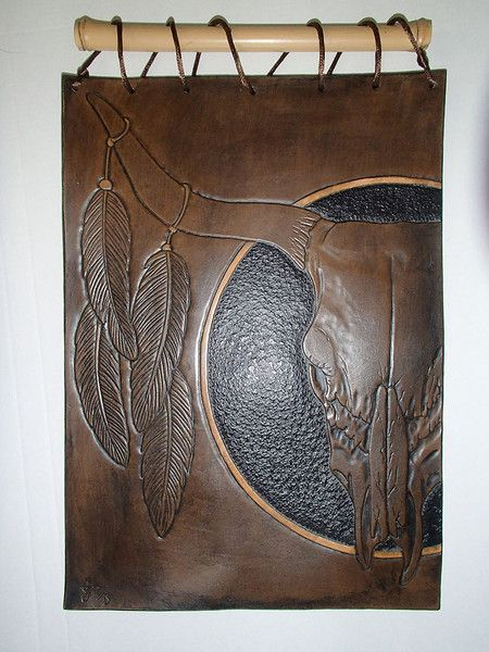 """Leather Wall Art Lederbild """"Schädel und Feder"""" von TGKunstHandwerk auf DaWanda.com"""