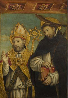 """""""Saint Peter Martyr and a Bishop Saint"""" by Giovanni Martino Spanzotti (1496-1500)"""