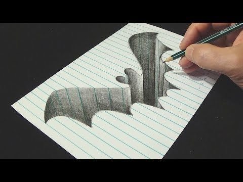 The Bat Hole Drawing Bat Hole In Line Paper 3d Trick Art Vamos Youtube Illusion Drawings Hole Drawing Optical Illusions Drawings