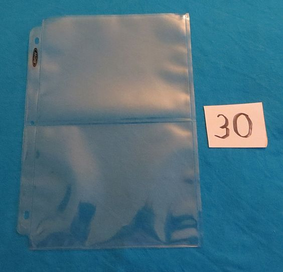 """30 2-POCKET 5""""x7"""" COUPON BINDER PAGES / 3-RING ALBUM SHEETS NEW!"""