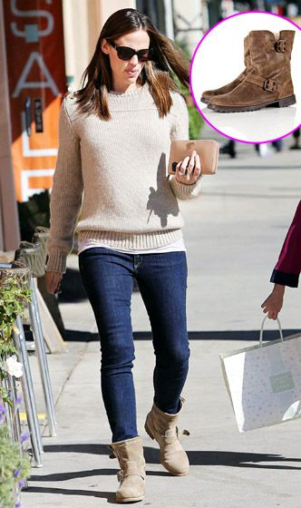 Covet: Jennifer Garner's Jimmy Choo Youth boots, $895. Love it: Topshop's Marlo fur-lined biker boots, $84