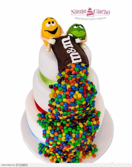M&M'S, słodycze, tort z M&M'S, torty dla dzieci, tort urodzinowy, śmieszne torty, piętrowy tort, dzieci, Tarnów