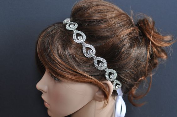 Rhinestone Headband Wedding Headpiece Ribbon by TangCreations