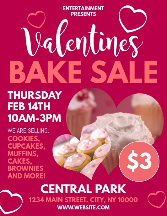 Valentines Day Bake Sale Flyer Template Free