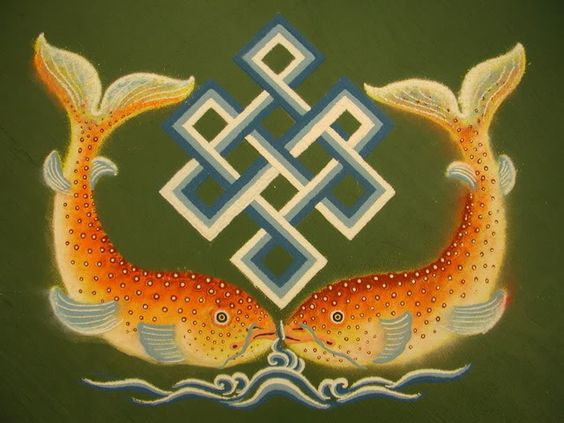 The golden fish symbolizes the auspiciousness of all living beings in a state of fearlessness, without danger of drowning in the ocean of sufferings, and migrating from place to place freely and spontaneously, just as fish swim freely without fear through water.