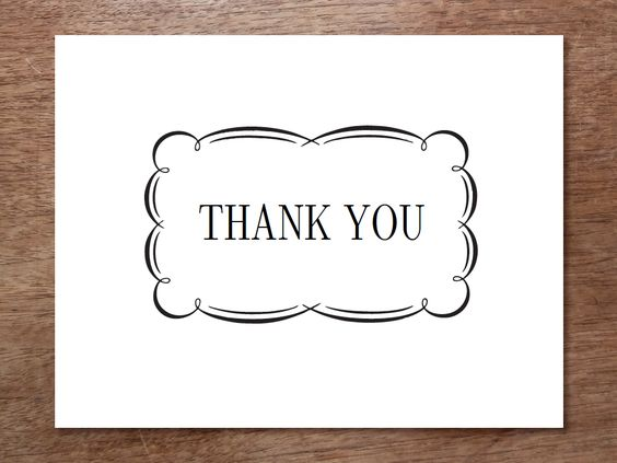A black and white printable thank you note. Just download the PDF ...