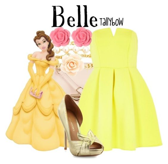 """""""Belle"""" by tallybow ❤ liked on Polyvore featuring ZALORA, Charlotte Russe, Disney, River Island, Badgley Mischka, Dollydagger, women's clothing, women's fashion, women and female"""