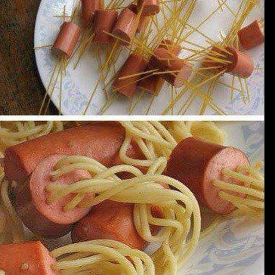 Kids party food.... Cut pieces of Frankfurt and stick 8 pieces of raw spaghetti into one end .... Drop into boiling water ... Presto little octopus