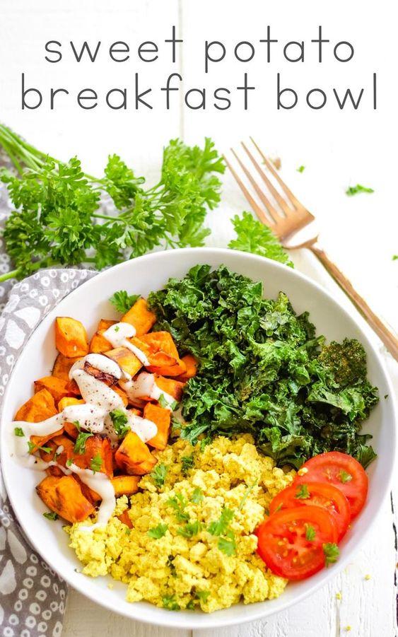 Vegan sweet potato breakfast bowl with kale and tofu scramble. #karissasvegankitchen #healthyrecipes #veganrecipes #sweetpotato #breakfast via @karissasvegankitchen
