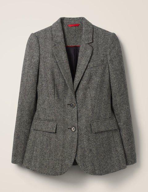 Smyth British Tweed Blazer Charcoal Herringbone Tweed Blazer Blazer Coats Jackets Women