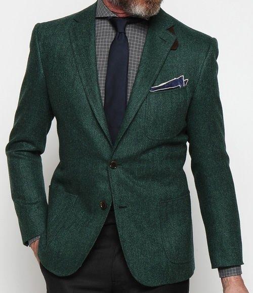 Green Herringbone Blazer
