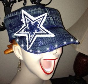 Cowboys Rhinestone Cadet Cap in Blue Jean by NicolesBlingThing For the Cowboys Game:)!!!!