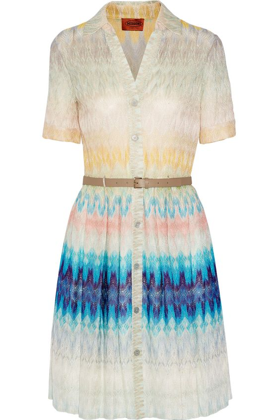 Shop on-sale Missoni Belted crochet-knit dress. Browse other ...