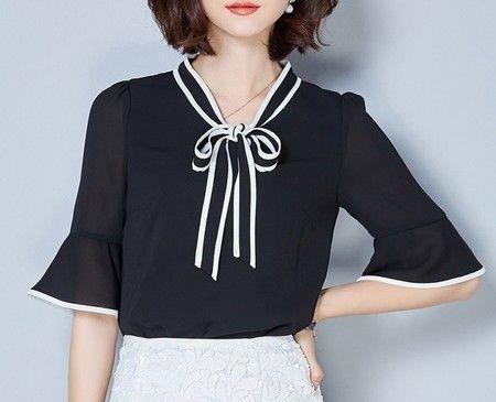 Camisa Feminina Loft Gola Laço Preta - cod 9072 - Miss Lully