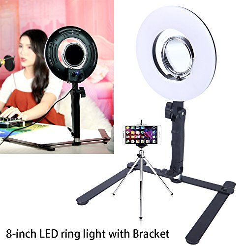 Pink Desktop Ring Light 8-Inch Dimmable 5500K Led Lighting Kit with Stand Phone Holder Mirror for Beauty Selfie Makeup YouTube Video