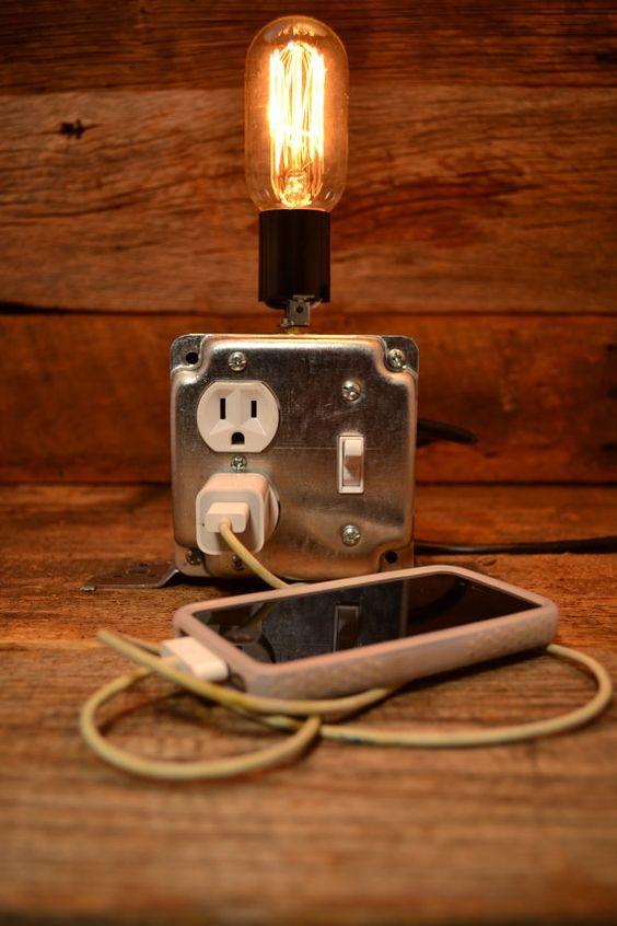 Desk Light Bulbs: Socket & Switch box desk lamp - industrial lighting with edison bulb,Lighting