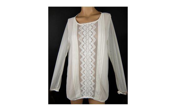 Gyönyörű csipkés áttetsző blúz 48/50-es - Női ing, blúz - Molett használt ruha - tunika