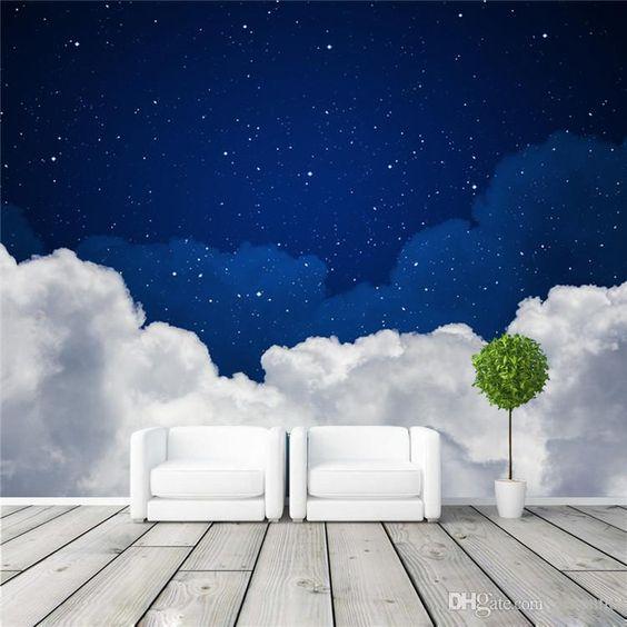 Night sky photo wallpaper galaxy wallpaper 3d charming for Cloud wallpaper mural