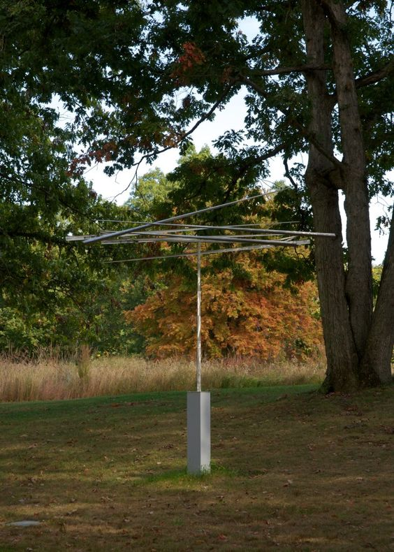 """George Rickey Six Lines in a T, 1966–79 Stainless steel 10'8"""" x 6'6½"""" x 30½"""""""