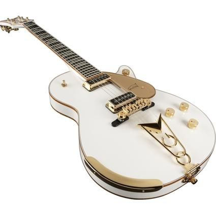 """Jack White  -  Very rare 1957 Gretsch White Penguin. One of the rarest guitars in the world, it can be seen in the video for the song """"Icky Thump."""" For the Raconteurs, he designed a Gretsch clone, which he has dubbed the """"Triple Jet"""". It is a double-cutaway Duo Jet with a pickup booster, and features a solid copper top. It also has a Gretsch logo that was only used on a few guitars in 1912. It is not a factory Grestch, as it was built by luthier Randy Parsons of Seattle."""
