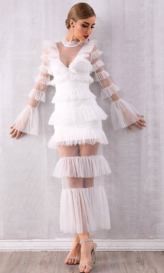 Dream Life White Sheer Mesh Tiered Ruffle Collar V Neck Long Flare Sle – Indie XO
