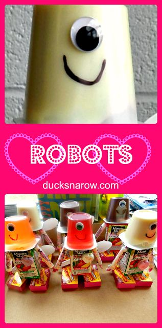 Robot party favor snack for kids! This one was for Valentine's Day.