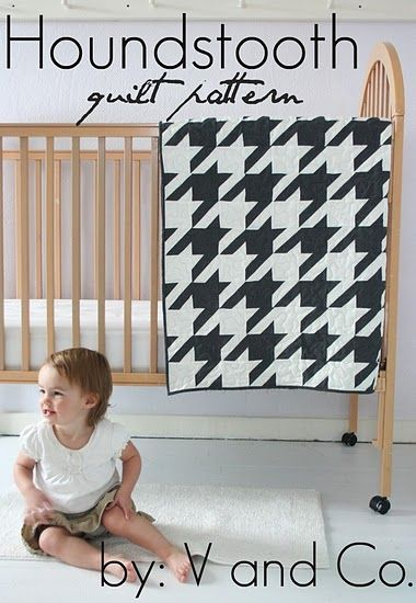 houndstooth... Need I say more?: Houndstooth Pattern, Baby Quilts, Quilt Patterns, Fat Quarter, Quilt Idea, Houndstooth Baby, Modern Quilt