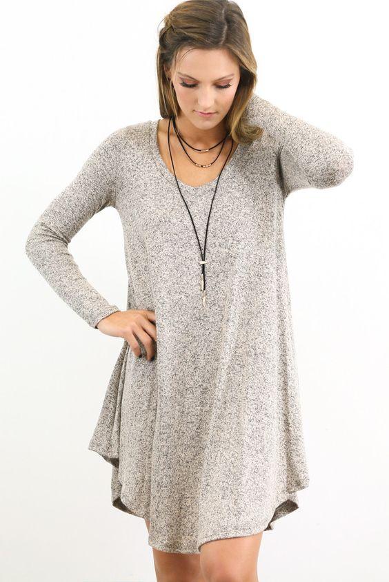 Ramble On Heather Mocha Long Sleeve Tunic Dress  Stylin ...