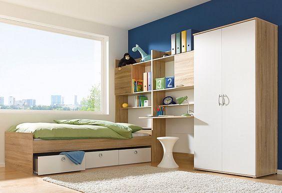 Jugendzimmer-Set, rauch (4-tlg.) ab 299,99€. Schickes Jugendzimmer-Spar-Set..., ... mit Schrank, Liege, Schreibschrank + Bettkastenschrank bei OTTO