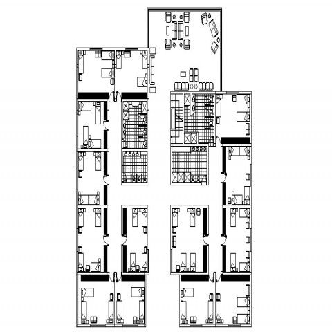 Boys Hotel Architecture Layout Plan With Furniture Drawing Details Dwg File