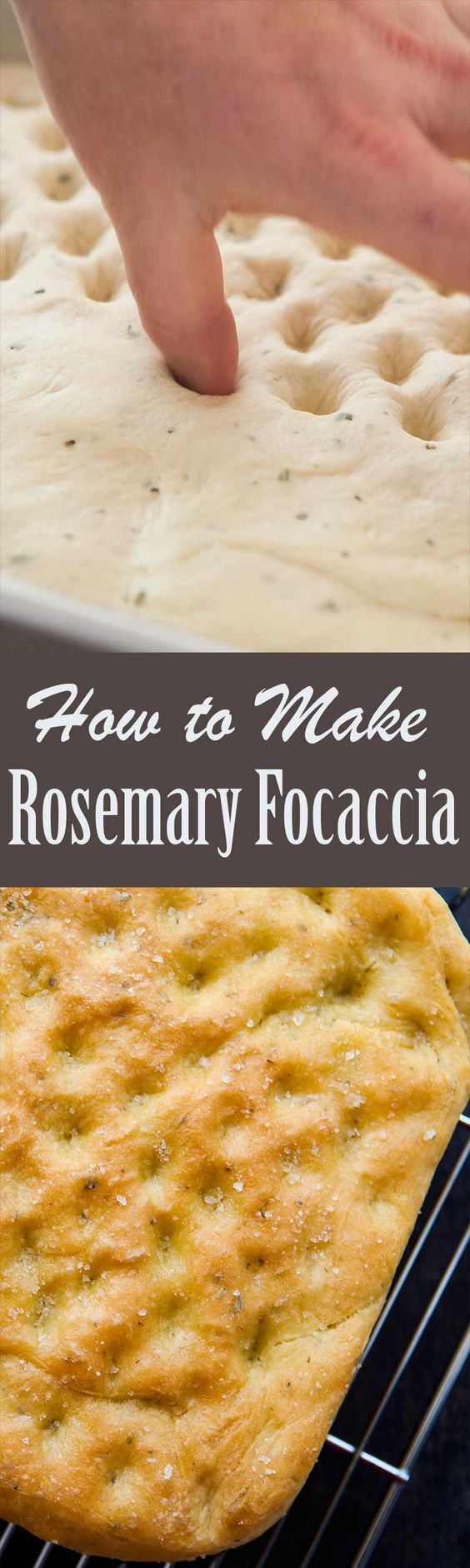 Homemade Focaccia Bread! A dimpled yeasted Italian flat bread flavored with olive oil and rosemary.