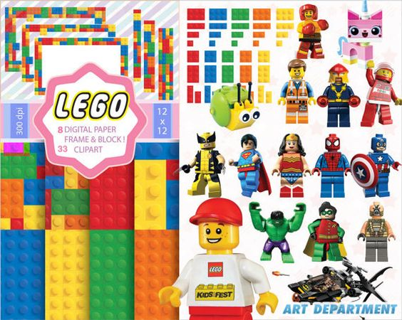 LEGO digital clipart - Printable - 8 papers & 33 characters - Digital Scrapbooking- Lego The Movie - Birthday Party Invitation - Decorations