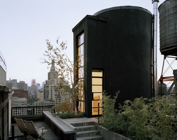 Messana O'Rorke || New York || The water tower on the roof deck has been transformed into an urban tree house.