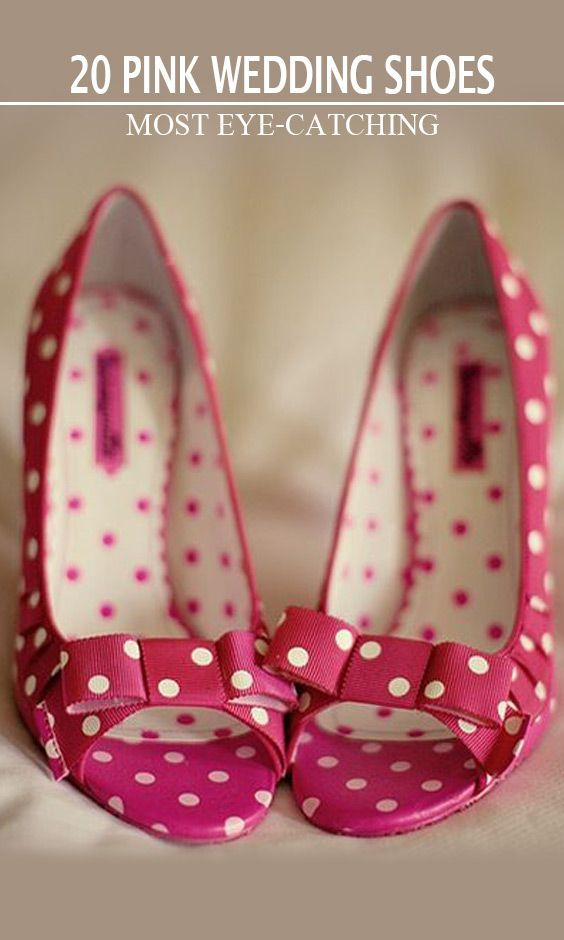Pink wedding shoes, Polka dot shoes