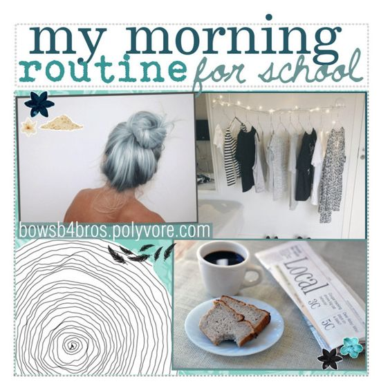 """my morning routine for school"" by preppy-pineapple-tippers ❤ liked on Polyvore featuring beauty, Clips, ASOS and AjTips"