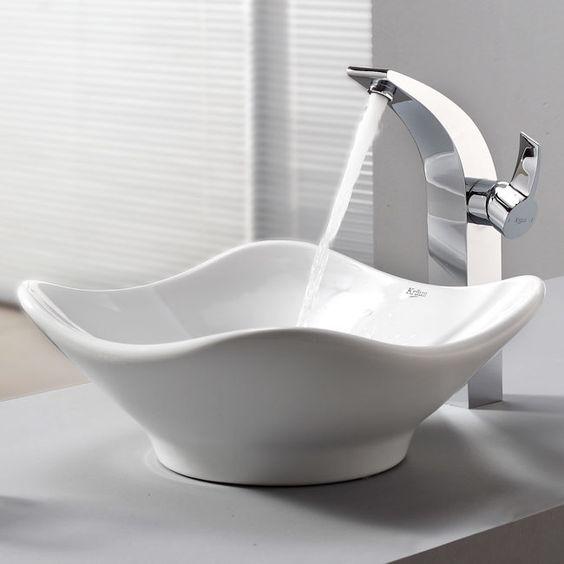 Bathroom Combos Bathroom Sink with Single Handle Single Hole Waterfall Illusio Faucet