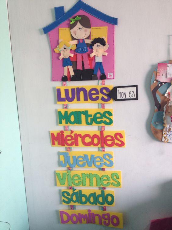 D as de la semana goma eva preescolar letrero for Decoracion de aulas infantiles