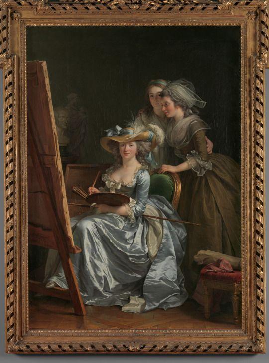 Self-Portrait with Two Pupils, Marie Gabrielle Capet (1761–1818) and Marie Marguerite Carreaux de Rosemond (died 1788) Artist: Adélaïde Labille-Guiard (French, Paris 1749–1803 Paris) Date: 1785 Medium: Oil on canvas  The Met: