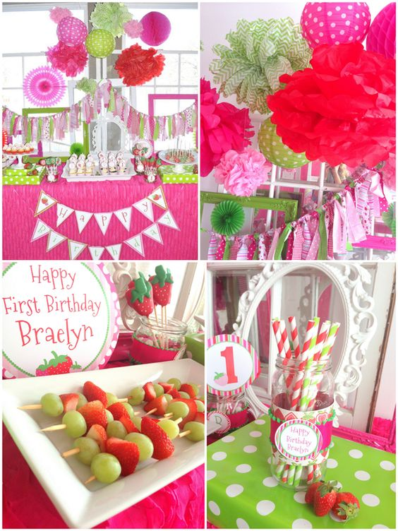 Darling strawberry themed birthday party 1st birthday party themes skewers and green grapes - Strawberry themed kitchen decor ...