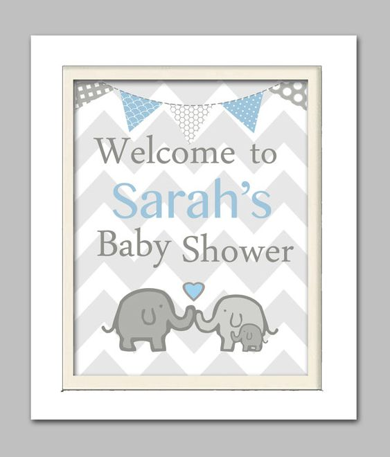 Elephant baby shower decorations, Elephant baby shower sign, Elephant Baby shower, Grey and Blue Nursery,  Choose your colors