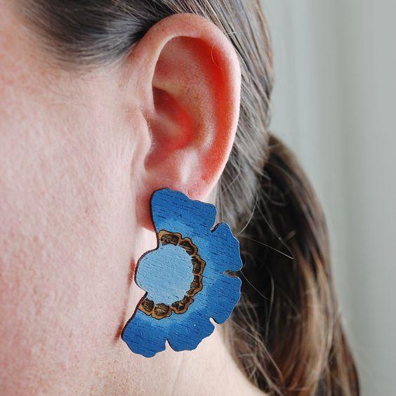 Blue Scabiosa flower earrings by Madeline Trait