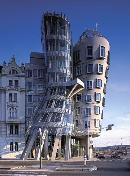 "Frank Gehry and Vlado Milunić collaboration Dancing House, also called the ""Fred and Ginger"" building [in Prague, Czech Republic]"