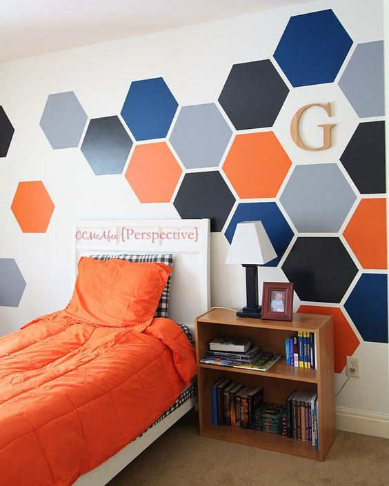 Hexagon wall tween boy room focal wall boys teal blue for Boys bedroom ideas paint