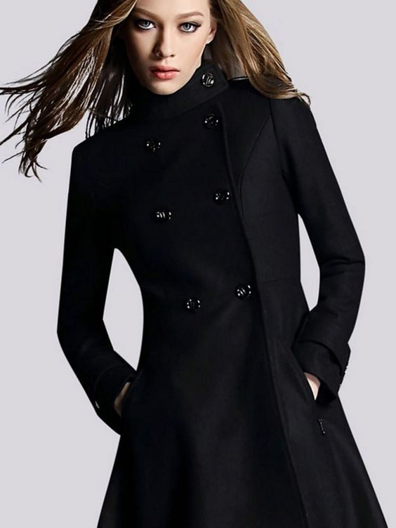 Super Super Cute! Love this Coat! Black Double Breasted