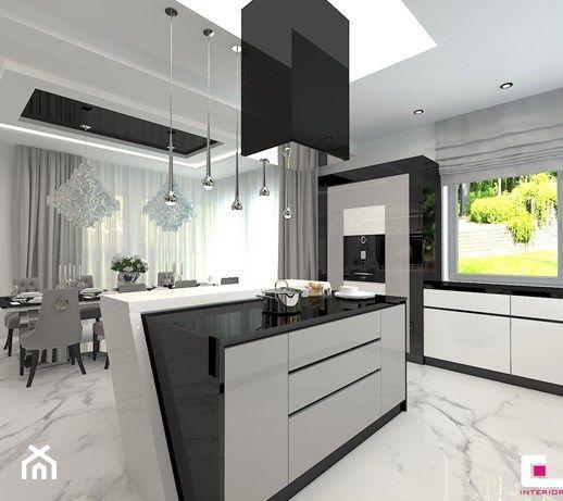 Aranzacje Wnetrz Kuchnia Projekt Wnetrz Domu W Wolominie Duza Otwarta Kuchnia Jednorzedowa Z Wyspa Z Oknem Styl Glamo Interior Design Interior Home Decor