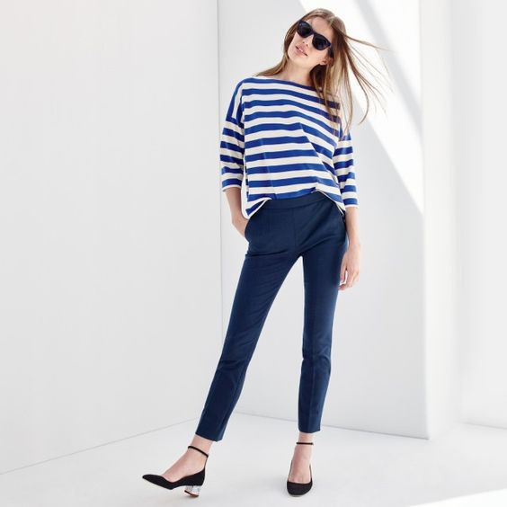 J.Crew Looks We Love: women's oversized drop-sleeve striped T-shirt, Martie pant in bi-stretch cotton, Sam sunglasses and contrast glitter heels in suede.:
