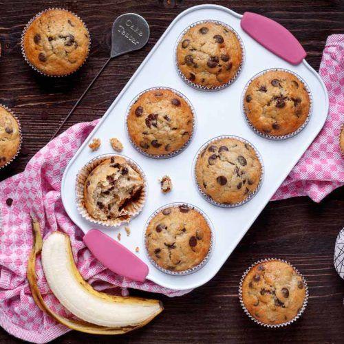 Einfache Bananen Schoko Muffins Emmikochteinfach Rezept Schokomuffins Schoko Bananen Muffins Bananen Muffins