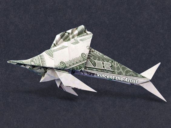 Money origami sea fish and origami on pinterest for Dollar bill origami fish
